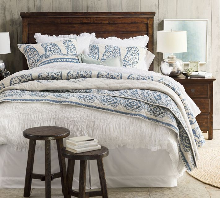 Pottery Barn Lori Paisley Whole Cloth Quilt Full Queen